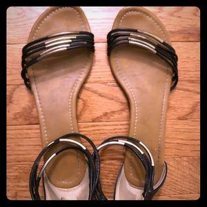 Black zip back sandals